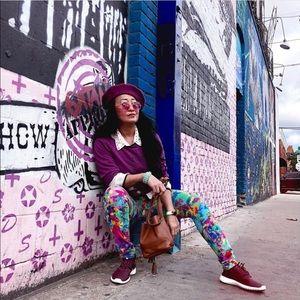 Rainbow Spatter Paint Skinny Jeans